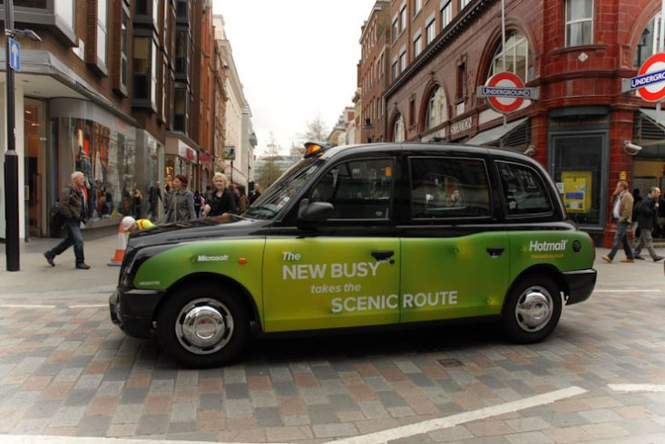 2010 Ubiquitous taxi advertising campaign for Microsoft - The New Busy Takes The Scenic Route