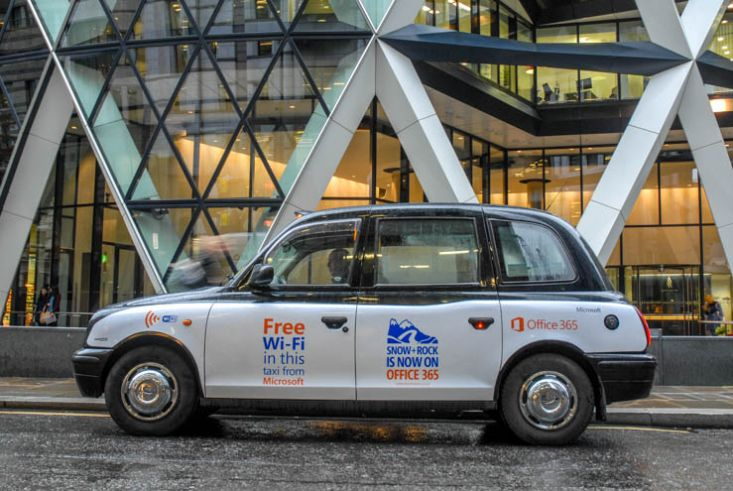 2013 Ubiquitous taxi advertising campaign for Microsoft - Snow + Rock is now on Office 365