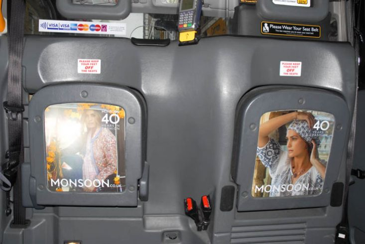 2013 Ubiquitous taxi advertising campaign for Monsoon - 40 Years In Fashion