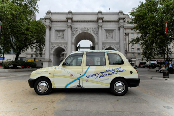 2010 Ubiquitous taxi advertising campaign for Nokia - SatNav is now free forever on Nokia smartphones
