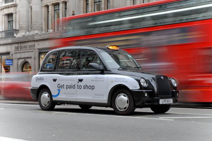 2012 Ubiquitous taxi advertising campaign for Quidco - Get paid to shop