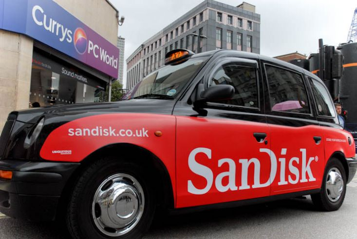 2011 Ubiquitous taxi advertising campaign for Sandisk - Store Your World in Ours