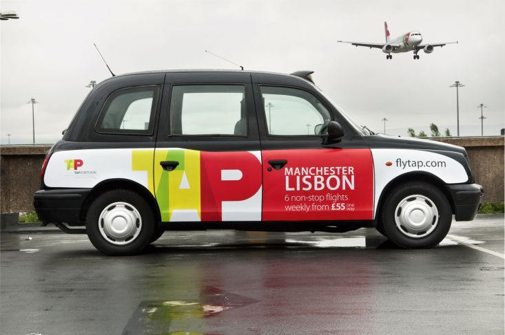 2011 Ubiquitous taxi advertising campaign for TAP  - Manchester Lisbon 6 non-stop flights weekly from £55 one way