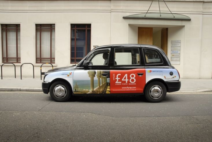 2009 Ubiquitous taxi advertising campaign for TAP  - Europes most frequent flyer to Brazil