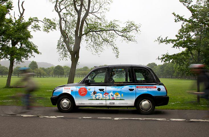 2012 Ubiquitous taxi advertising campaign for Taste Of Edinburgh - taste