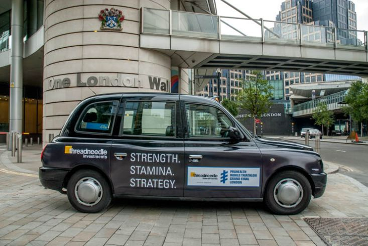 2013 Ubiquitous taxi advertising campaign for Threadneedle - Strength. Stamina. Strategy.