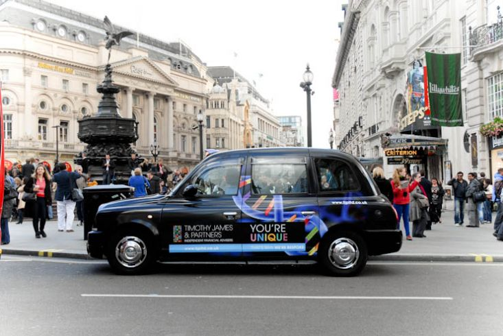 2012 Ubiquitous taxi advertising campaign for Timothy James & Partners - You're Unique
