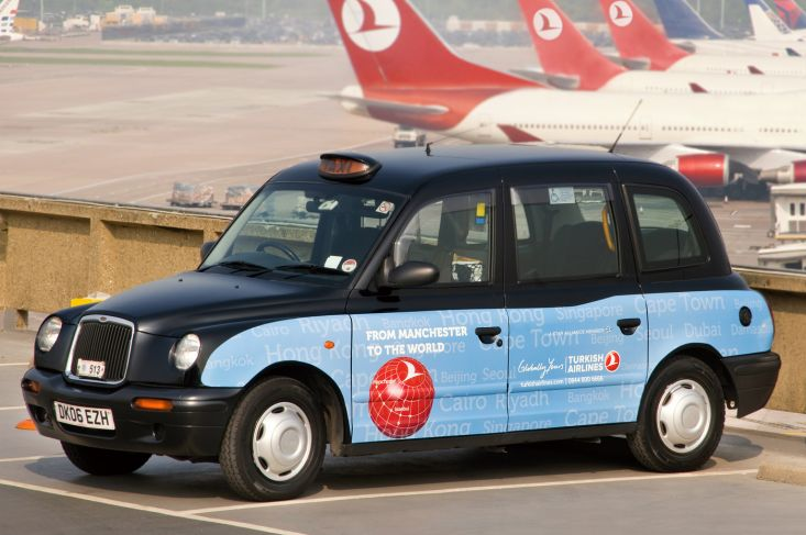 2011 Ubiquitous taxi advertising campaign for Turkish Airlines - From Manchester to the World