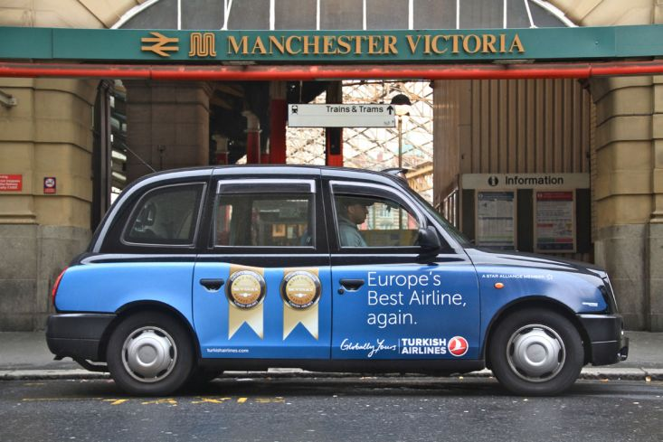 2012 Ubiquitous taxi advertising campaign for Turkish Airlines - Europe's Best Airline, Again/ Fly from Manchester To More Than 220 Cities Via Istanbul