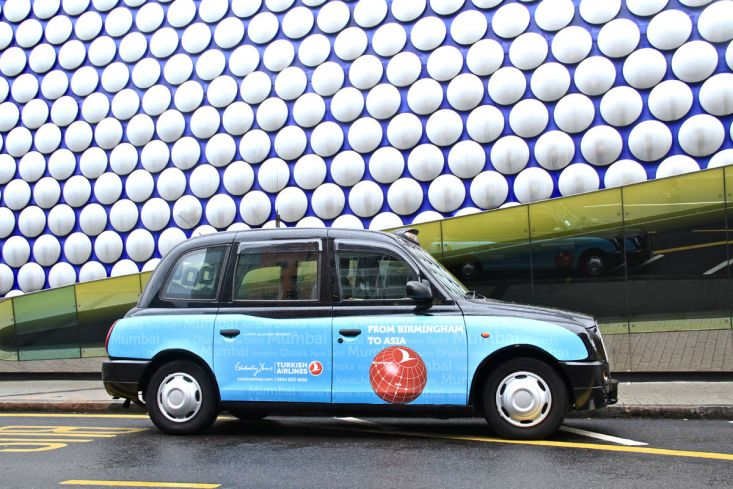 2012 Ubiquitous taxi advertising campaign for Turkish Airlines - From Birmingham to Asia