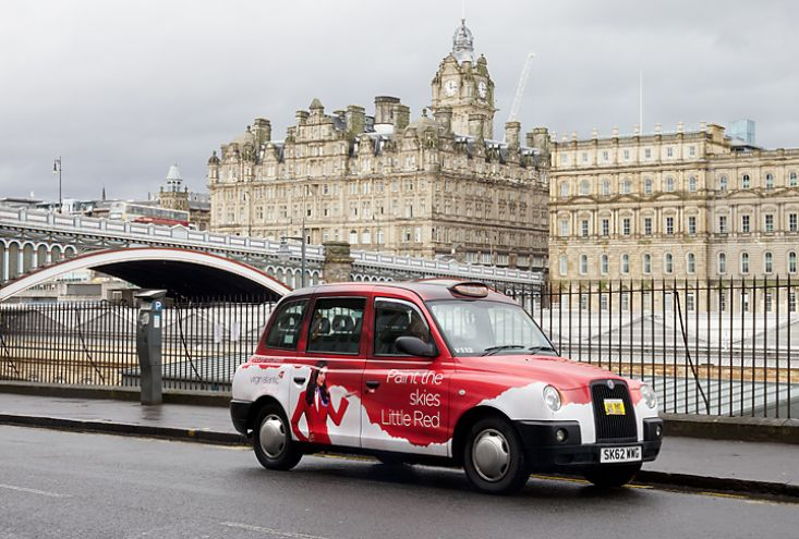 2013 Ubiquitous taxi advertising campaign for Virgin Atlantic - Paint The Skies Little Red