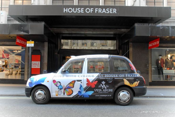 2012 Ubiquitous taxi advertising campaign for Vista Alegre - Alive with colour at House of Fraser