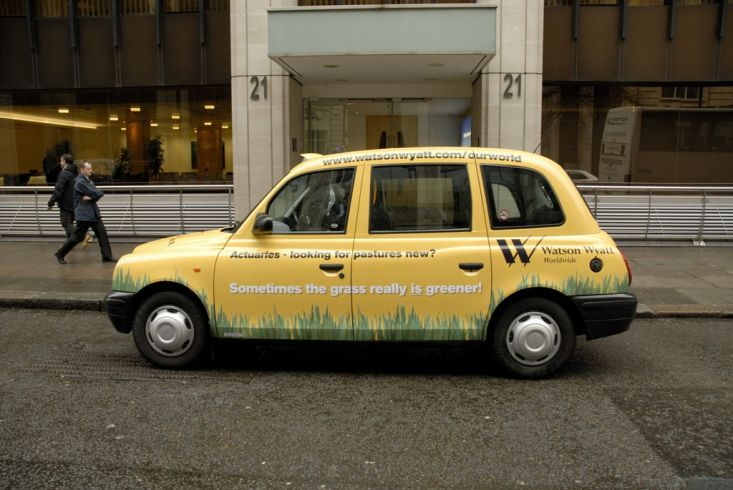 2008 Ubiquitous taxi advertising campaign for Watson Wyatt - Sometimes The Grass Really is Greener