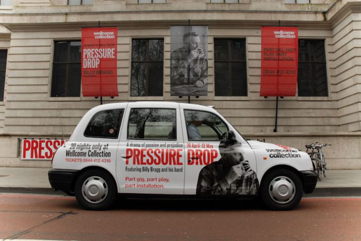 2010 Ubiquitous taxi advertising campaign for Wellcome Collection - Pressure Drop