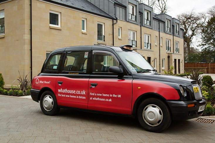 2012 Ubiquitous taxi advertising campaign for What House - The best new homes in Britain