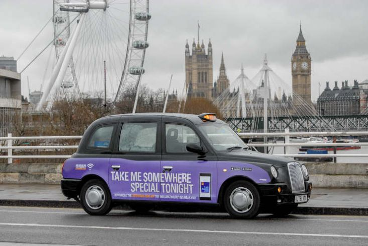 2014 Ubiquitous taxi advertising campaign for Laterooms - Take Me Somewhere Special Tonight