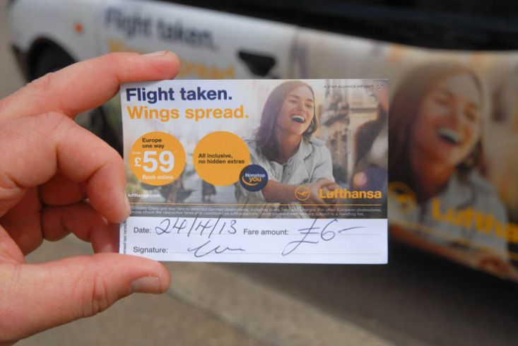 2013 Ubiquitous taxi advertising campaign for Lufthansa - Flight Taken. Wings Spread.